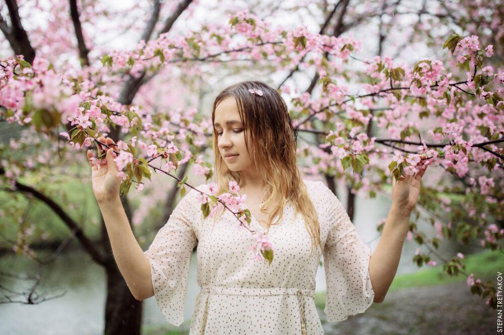 Альбина в цветении вишни Японского сада